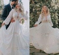 2021 레이스 긴 소매 A 라인 웨딩 드레스 고딕 양식의 히피 컨트리 스타일 보헤미안 웨딩 드레스 보헤미안 바닥 길이 가운 데 Mariee