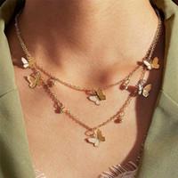 Bohemia linda mariposa Gargantilla Collares de oro de las mujeres del color de plata clavícula cadena de múltiples capas de manera femenino de la joyería collar de la declaración