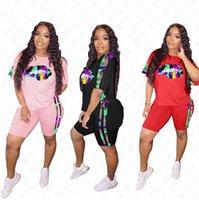 Frauen Anzug Designer Letters Camouflage Lippendruck mit kurzen Ärmeln T-Shirt Shorts Patchwork Zwei Stücke Outfits Sport Anzug S-4XL D7713