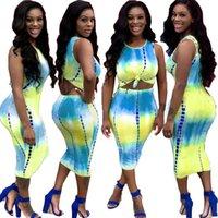 2020 nuovi vestiti da donna a buon mercato Cina all'ingrosso all'ingrosso Europeo e americano da due pezzi set da due pezzi sexy-Dye Tie-Dye Print Dress Dress Nightclub