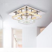 أضواء الحديثة كريستال LED سقف ساحة تركيبات التركيب السطحي سقف كريستال مصباح مدخل ممر أزيل ضوء الثريا ضوء السقف