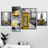 Posters ouro BusTelephone Booth Black White Paris Londres e impressões Wall Art Pictures para Living Room Home Decor (No Frame)