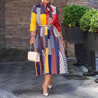 Повседневные платья осень женские офисные платья элегантные дамы бантик воротник геометрический принт плиссированный MIDI африканский модный мода