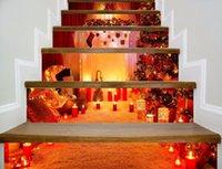 2020 Slt007 navidad nueva escalera pegatinas de Navidad en 3D pasos decorativos pegados con adhesivos de pared autoadhesivas