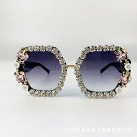진주 라운드 빈티지 선글라스 비치 파티와 브랜드 디자인 수제 라인 석 스퀘어 선글라스 패션 안경 여성 꽃