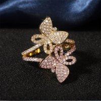إنفينيتي خمر الأزياء والمجوهرات 925 الاسترليني silvergold ملء مهد الأبيض الياقوت تشيكوسلوفاكيا الماس الأحجار الكريمة مزدوجة فراشة مفتوحة حلقة قابل للتعديل