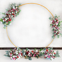 6.5ft Golden Circular Arch with Stands Metal Hoop for Flowery Arrangement Birthday Party Wedding Background Room Decor Home Celebrations