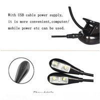LED-Klipp-Buch-Licht Music Stand Light Double Head USB 4LEDs Leselampe für Tisch, Kopfbrett und Computer-
