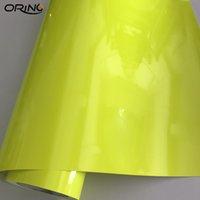 Premium Car Styling Gloss gialla fluorescente vinile lucido adesivo fluorescente giallo vinile avvolgere autoadesivo autoadesivo Dimensioni 1.52x20 metri