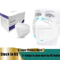 الولايات المتحدة STOCK المتاح قناع الوجه 5 طبقات الأقنعة حلقة الأذن لمكافحة الغبار الوجه الفم أقنعة الوجه غطاء شحن مع في 24 ساعة الولايات المتحدة FEDEX