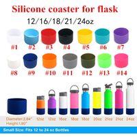 7.5cm de silicona Botella Coaster manga para 12 oz / 16 oz / 18 oz / 21 oz / 24 oz Botella cubierta vaso 14colors sostenedor de taza de silicona matraz de protección inferiores
