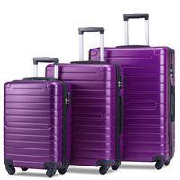 3 Gepäckstück, tragbarer ABS trolley 20/24/28 Zoll Lila, erweiterbares 8-Rad-Dreh Gepäck mit Teleskopgriff, Fahrwerk