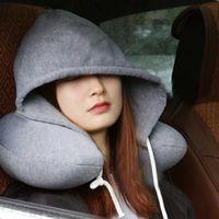 New Travel capuz em forma de U Cushion Pillow Car Gabinete de Apoio Avião Cabeça de descanso do pescoço em forma de U, Eye Mask Eyemask Neck Pillow