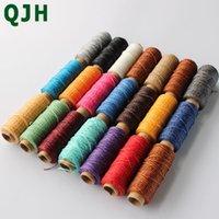 Notions de couture Outils QJH Durable 1mm 150D Cuir fil ciré Cord de fil ciré pour bricolage Tool à la main Couture à la main 50 mètres ligne plate