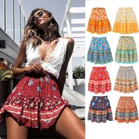 Women Summer Skirt Casual Bohemian High Waist Ruffled Floral...