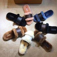 Дизайнерская обувь Lady Стопорные IT Flat Mule норки Трусы Коньяк Коричневый патент Monogram Canvas Слайды Сандалии Зимние пинетки с коробкой EU42