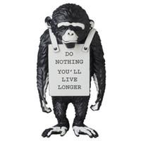 بانكسي الفن الحديث القرد شارع أبيض وأسود قرد تمثال الإبداعية الراتنج ArtCraft هل لا شيء عليك أن يعيش أطول الحلي