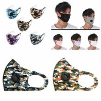 Unisex Face Mask With Valve Anti Dust Respirator Protective Masks Washable Reusable Anti Fog Camo Ice Silk Cotton Mouth Masks CYZ2512
