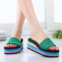 Hot Sale Rainbow Summer Non-Slip Sandals Female Slippers for Women Flip-Flop Sandals Platform Indoor Flip Flops Slippers Sandals