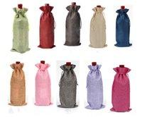 Jute Bouteille de vin Covers Champagne Vin Aveugle Emballage cadeau Sacs rustique hessois dîner de mariage de Noël Table de 16x36cm Décorer