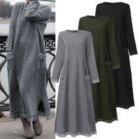 Abiti casual 2021 Zanzea Fashion Lace Stiching Felpe Abito Abito da donna Autumn Sundress Felma Fleece Maxi Vestidos Plus Size Pullover 5x
