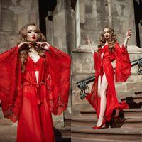Rojo nupcial ropa de noche de las mujeres del traje del vestido de noche de encaje Establece Albornoz vestido atractivo de la ilusión de las mujeres pijamas diseñador Femme Ropa interior de una pieza