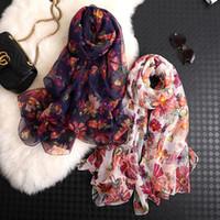 bufandas de la impresión Señora del partido encantador popular de la calidad de seda de China nuevo estilo de otoño e invierno playa mujeres del hijab Protector solar de flores chales