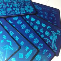 8pcs chinesische Art Chinoiserie China Wörter Entwurfs-Nagel-Kunst-Platte stempelt Stempelplatten Bild-Transfer Polish Vorlage W / Plastikblatt