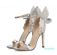 Hot sale-Bride Wedding Shoes Silver Butterfly Ankle Strap Pumps Silver Champagne Black Size 35 to 40