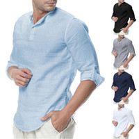 2020 Hot Mens Cotone Lino Henley shirt da 3/4 manica camice casuali respirabili Beach Summer Fashion Tops