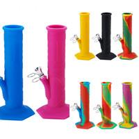 9-дюймовые силиконовые водяные бонги с 14 мм мужской стеклянной чаши вниз по 18 мм женские силиконовые установки для карьеры для кварцевых гвоздей для ногтей