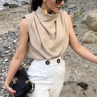 빈티지 여성 우아한 스탠드 칼라 부드러운 셔츠 2020 여름 패션 숙 녀 세련 된 느슨한 블라우스 캐주얼 여성 탑스 소녀 Chic T200801