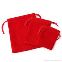 75 PCS ثلاثة أبعاد (5 * 7 سم / 7 * 9 سم / 10 * 12 سم) كيس مخملي الرباط كيس / حقيبة الجملة حقيبة المجوهرات / هدية الزفاف الأحمر عيد الميلاد