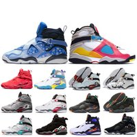 Großhandel 2020 neue 8 Aqua Chrome 8s Reflective Quai 54 Männer Frauen-Basketball-Schuhe Countown Pack-Playoff Raid Snowflake athletischer Turnschuh