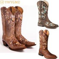 Stiefel mode frauen floral bestickte westliche westliche cowgirl schuhe kniehohe reiten lederweinlese
