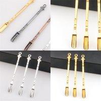 80 milímetros de metal pequeno fumaça Pá Banda Anéis Medicina colher cor do ouro Fácil Spoons Carry Acessórios fumar Usos Múltiplos 1yj E2