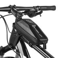 탄소 섬유 자전거 가방 방수 1L 자전거 전면 프레임 탑 튜브 가방 파니 MTB 산악 도로 자전거 하드 쉘 파우치 자전거 액세서리
