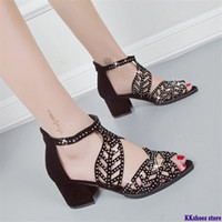 Women Summer Hollow Out Faux Leather Rhinestones Peep Toe su...