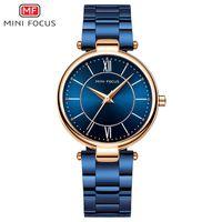 Mini Focus Mulheres Relógios À Prova D 'Água Azul Aço Inoxidável Marca Luxo Moda Senhoras Quartz Watch Relogio Feminino Montre Femme 201114