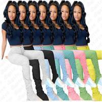Mujeres pantalón de diseño Pantalones acampanados color sólido apiladas Joggers plisada cintura alta Pantalones Tendencia 2020 polainas flacas inferior de las bragas LY709