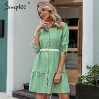 Повседневные платья простые осенние женские рубашки платье A-line отворота с твердой женской блузкой зима с длинным рукавом офисные женские шики короткие