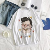 2020 Harajuku Feine V-Ansatz-Linie Ript Hemd Unisex Geek Hip Hop-T-Shirts Lustige Ästhetische Beiläufiges Harry Styles Cartoon Graphic Tops Amp; T
