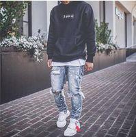 Erkekler Jeans Sıkıntılı Kar Yıkama Boya Dot Tasarım Kalem Pantolon Erkek Yeni Moda İnce Jean Diz Delikler Denim Pantolon Kot Pantolon