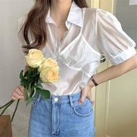 Elegante breasted-Single 2020 Falso nuevo del verano de dos piezas Blusas Mujeres sólido del estilo coreano de la solapa de la camisa blanca de la vendimia