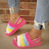 패션 무성한 모피 상단 플립 플롭 여성 슬리퍼 두꺼운 유일한 열기 라운드 발가락 샌들로 돌아 가기 스트랩 슬링 여성 슬라이드 신발