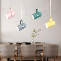 İskandinav Kolye Işıkları Macaron Alüminyum LED Kolye Lamba Mutfak Restoran Işık Tavan Armatürleri Için Ev Aydınlatma PA0323