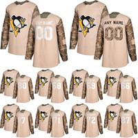 Pittsburgh Penguins Camo Veterans Dia Prática Jerseys 87 Sidney Crosby 66 Mario Lemieux 58 Letang Personalizado Qualquer Número Qualquer Nome Hóquei Jersey