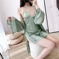 Lace Patchwork Robe Set Satin Women Nighty&Robe Set Summer S...