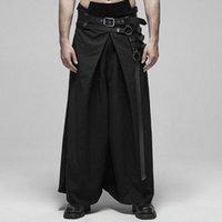 Pantalones Punk Negro guerrero japonés PUNK RAVE Hombres Kimono estilo de ajuste de metal hebilla del funcionamiento de la etapa Pantalones Ym3c #