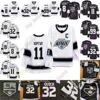 Los Angeles Kings Jersey Ice Hockey 8 Drew Doughty 11 Anze Kopitar 90s 32 Jonathan Quick 99 Wayne Gretzky Black White Size S-3XL